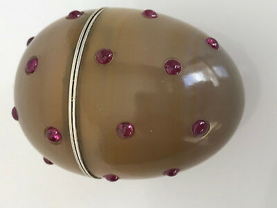 Russian Carved Agate Egg With Silver and Rubies