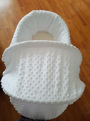 white moses basket with rocking stand, white washable basket cover and mattress