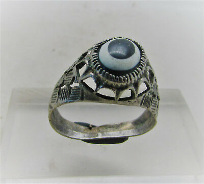 Beautiful Post Medieval Silvered Decorated Ring With Black & White Stone