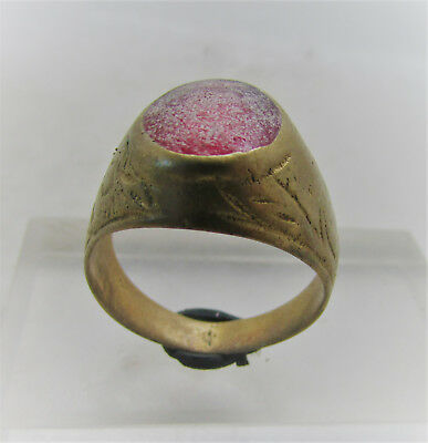 Beautiful Post Medieval Silvered Ring With Red Glass Insert