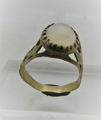 Beautiful Post Medieval Silvered Ring With Glass Insert