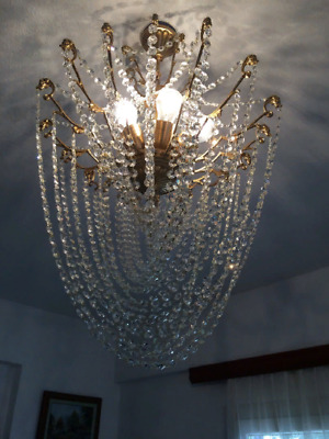 Crystal Chandelier Brass Antique French Vintage 28 Arms Shabby Chic Ceiling Lamp