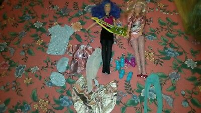 2 Vintage Jem and the Holograms Dolls  +Guitar,  Clothes & Accessories