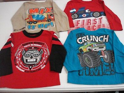 Toddler Boys Size 3T Long Sleeve Shirts Lot of 4 Cute Designs