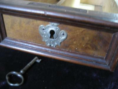 Wooden Sewing Machine Table Desk DRAWER Burl WITH KEY