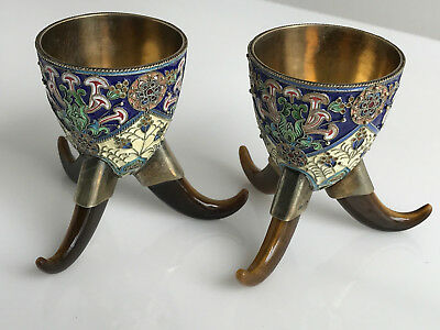Pair of Russian Silver and Enamel Cups
