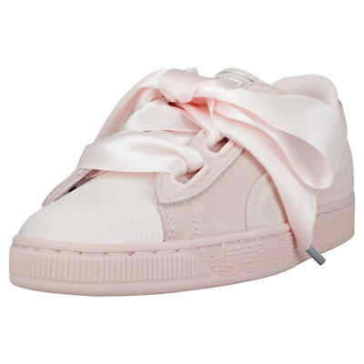 new styles 3ee28 a3c4b PUMA SUEDE HEART Bubble Womens Pearl Leather & Suede Trainers