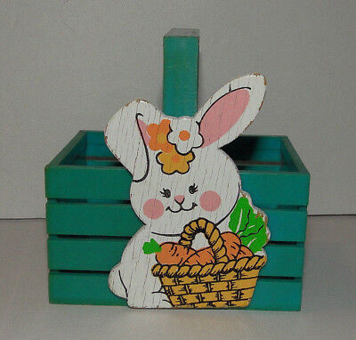 VTG EASTER UNLIMITED INC Mini PLASTIC  BASKET Blue Green Bunny Rabbit