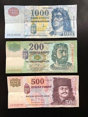 HUNGARY 200, 500 and 1000 Forint (2005-09) Set of 3 banknotes