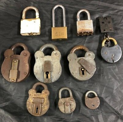 Collection Of 10 Old Antique Vintage Padlocks Brass No Keys Squire