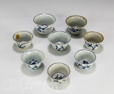 Lot Of Antique Chinese Blue And White Porcelain Cups - Ming Dynasty