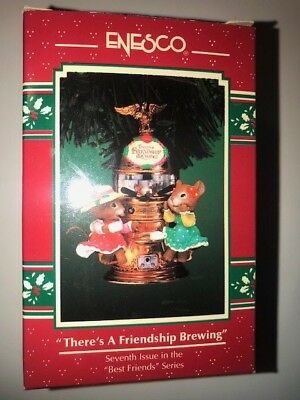 """ENESCO 1996 """"THERE'S A FRIENDSHIP BREWING"""" Christmas Ornament BEST FRIENDS"""