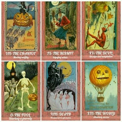 Vintage Halloween postcard decoration repro tarot oracle cards deck lot prop