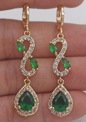 "18K Gold Filled- 2'' Teardrop Earrings Emerald Hollow ""8"" Swirl Ear Dangle Lady"
