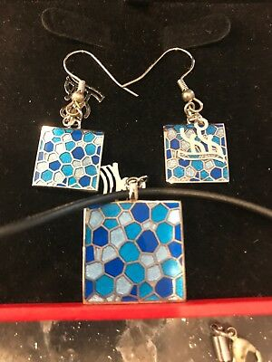 Blue Necklace and Earrings Set From 2008 Beijing Olympics Memorabilia Jewelry
