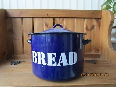 Vintage Enamel Round Bread Bin in Blue with White Writing
