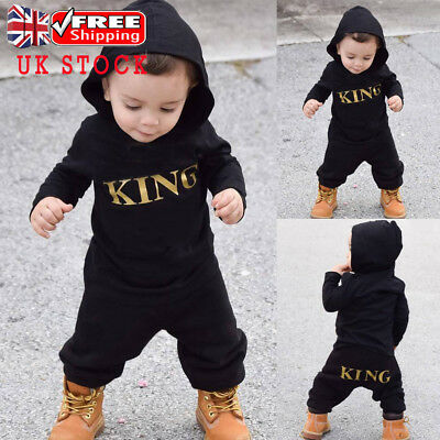 Toddler Baby Boys KING Hooded Jumpsuit Long Sleeve Casual Playsuit Romper Outfit