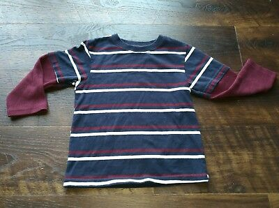 boys Garanimals blue long sleeve shirt with maroon and white stripes size 3T