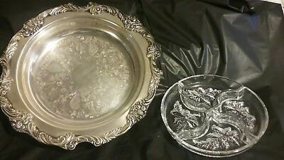 Vintage Antique Reed & Barton 1626 King Francis Silver Glass Tray