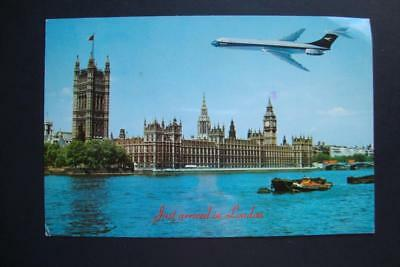 580) London England ~ The House Of Parliament ~ Jet Airplane ~ Barges ~ Tug Boat