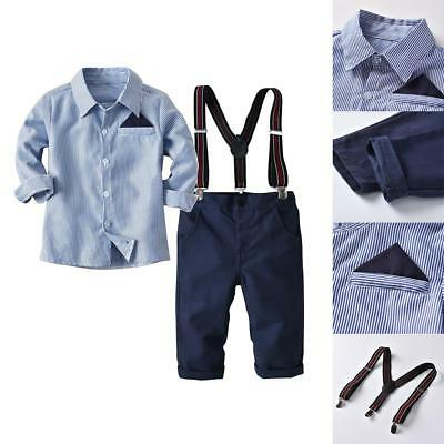 Newborn Toddler Baby Boy Suit Gentleman strap+Pants+Shirt Outfit Clothes Set HOT