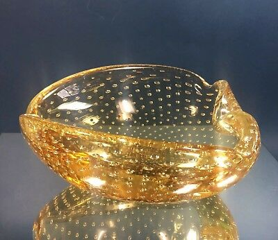 Mid-Century Modern Murano Yellow Controlled Bubble Glass Candy Dish Trinket Ash