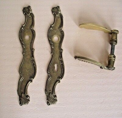 Antique Heavy French Brass Decorative Door Handles and Back Plates Pair 703