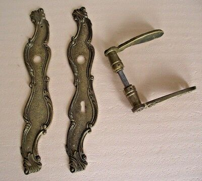 Antique Heavy French Brass Decorative Door Handles and Back Plates Pair 704