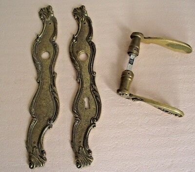 Antique Heavy French Brass Decorative Door Handles and Back Plates Pair 705