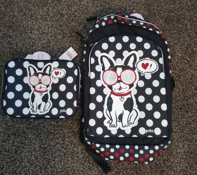 NWT Justice Pawsitivity Puppy Dog 2 Sided Backpack Bag Girls w/  Lunch Box