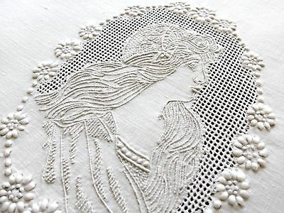 """Lady in Cameo Antique Appenzell Embroidery Round Linen Tablecloth 23"""""""