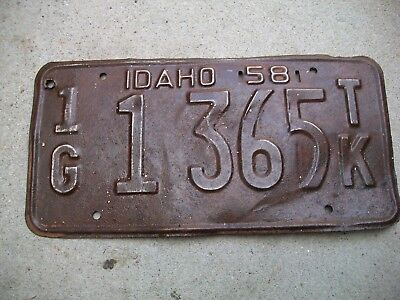 Antique Vintage RARE Nice Dated Gem County Emmett,Idaho 1G 1958 License Plate.