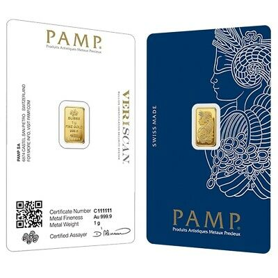 Lot of 2 - 1 gram Gold Bar PAMP Suisse Lady Fortuna Veriscan .9999 Fine In Assay