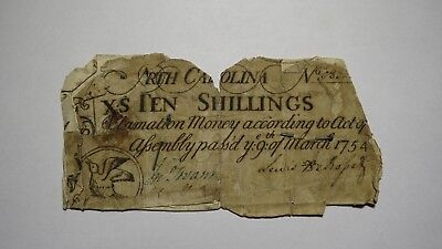 1754 10 Shillings North Carolina Colonial Currency Note Bill! Ten South Raleigh