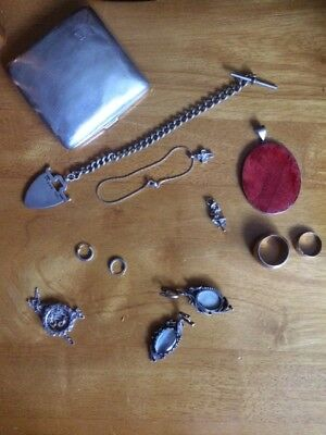 Antique&Vintage Little collection of 9 silver items,Job Lot,Rings&Jewellery&Fob
