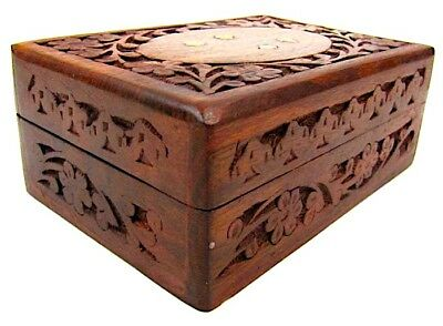 "Wooden Storage Box 8"" x 5"" - Hand-carved - Inlaid With Solid Brass - Latest M..."