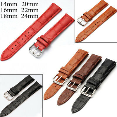 14mm 16mm 18mm 20mm 22mm Men Women Lady Watch Band Genuine Leather Strap Belt UK