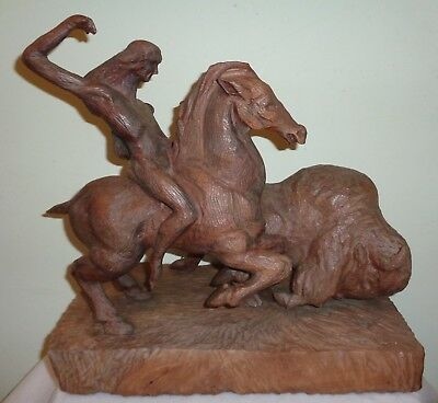 Signed Hand Carved Native American Indian Buffalo Hunting Scene Wooden Sculpture