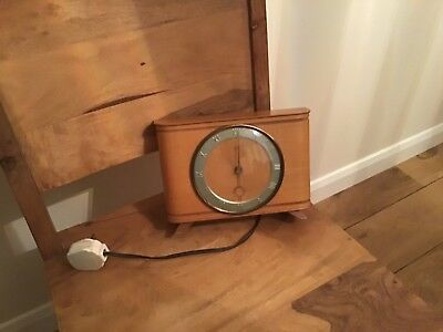 Smiths Electric Mantle Clock Working,wooden And Old