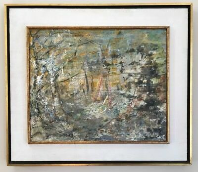 Vintage Mid Century Abstract Oil Painting Signed Gorgeous Frame