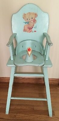 Vntg 1950's Wooden High Chair/Potty Chair Light Blue with Bird Head Seat