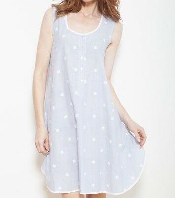 Cyberjammies Nora Rose Blue pure cotton sleeveless nightdress UK Size 14 BNWT
