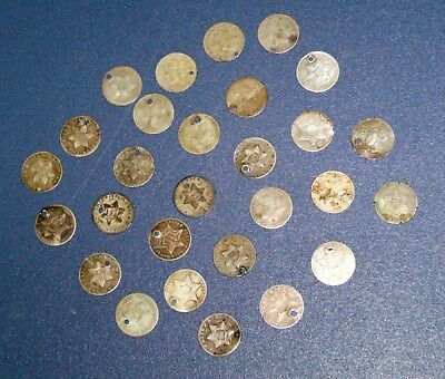 28 THREE CENT 1851 1852 1853 1860 1861 etc SILVER Trime 3c ALL with DATES