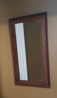 Antique Oak Mirror With Beveled Glass With Ornamental Carved Border