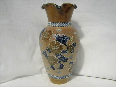 Royal Doulton stoneware baluster vase, floral decoration in blue and brown