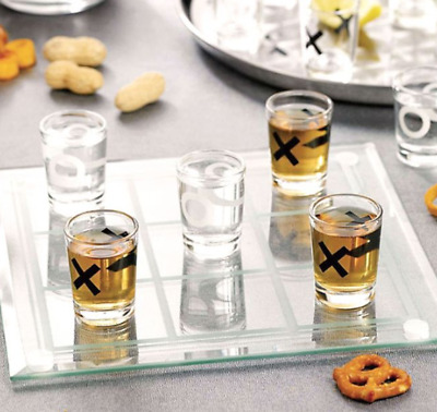 Tic Tac Toe Shot Glasses (Set of 9), Frosted Glass Game board Included! NEW!