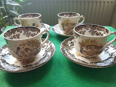 "Vintage Royal Worcester Palissy ""game Series"" 4 Cups And 4 Saucers"