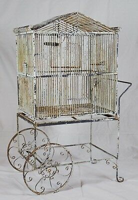 Large Vintage Rustic Metal Bird Cage on Trolley Cart Caddy Stand