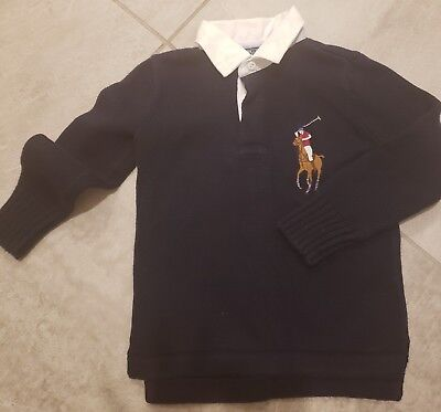 Ralph Lauren Polo Boys Navy Blue Pull Over Sweater Size 5 Euc