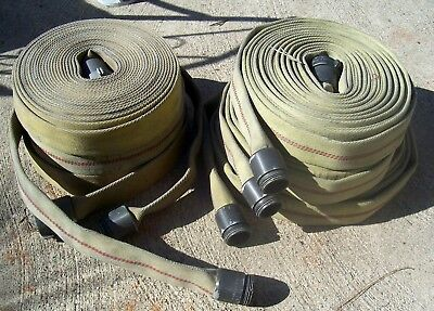 """Used Fire Hose 48 Ft Long 2 1/2"""" Wide 1 1/2"""" FSS NH Couplings"""
